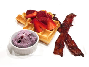 Sour Cream Waffles with Blueberry Butter and Honey Orange Strawberries